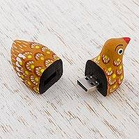 Wood alebrije flash drive, 'Delightful Duck' - Hand Painted Wood Duck Flash Drive with 8 GB USB