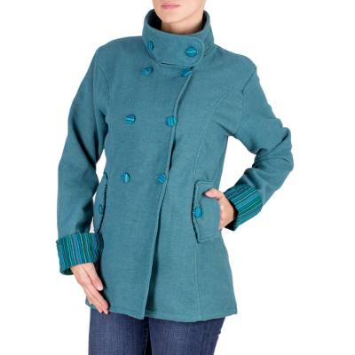 Double-breasted cotton blend coat, 'Teal Paradise' - Woven Teal Double Breasted Coat from Guatemala