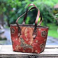 95451ee07a Batik leather tote, 'Queen of Flowers' - Batik Butterfly Leather Tote  Handbag from