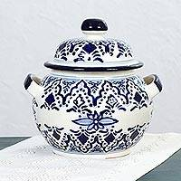 Ceramic soup tureen, 'Village Flower' - Hand Made Ceramic Floral Soup Tureen from Mexico