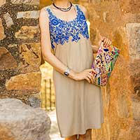 Viscose shift dress, 'Royal Blue Personality'
