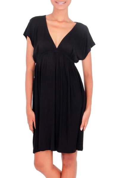 Jersey dress, 'Black Denpassar Chic' - Jersey dress