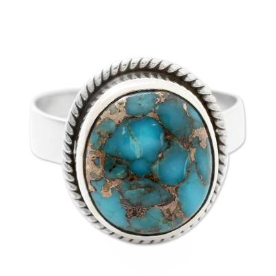 Silver Silver and Blue Composite Turquoise Ring from India