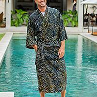 Men's cotton batik robe, 'Star Quest'