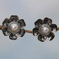 Cultured mabe pearl button earrings, 'Blooming White Roses'