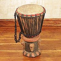 Wood djembe drum, 'Think Together' - Fair Trade Wood Djembe Drum