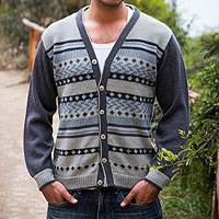 Men's 100% alpaca cardigan, 'Infinite Traveler' - Men's Alpaca Gray & Blue Cardigan from Peru