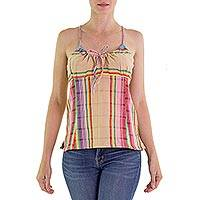 Cotton camisole top, 'Festival Day' - Hand Loomed Multicolor Striped Camisole Made in Guatemala