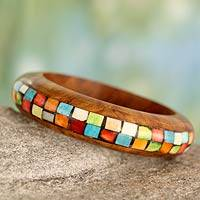 Wood bangle bracelet, 'Mumbai Mosaic' - Wood with Bone Inlay Indian Bangle Bracelet