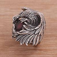 Garnet cocktail ring, 'Phoenix Flare' - Handcrafted Garnet and Sterling Silver Phoenix Cocktail Ring