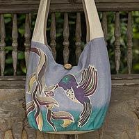 Cotton batik sling bag, 'Thai Hummingbird' - Purple Cotton Sling Handbag from Thailand
