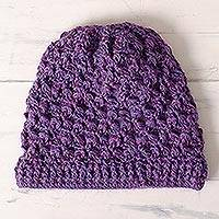 100% alpaca hat, 'Berry Patch' - Blue-Purple Hand Crocheted 100% Alpaca Hat from Peru