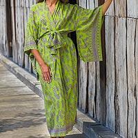 Rayon robe, 'Tropical Fern Forest'