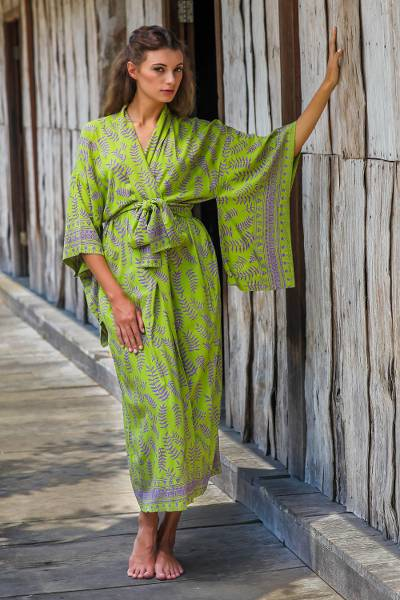 Rayon robe, 'Tropical Fern Forest' - Balinese Green and Purple Fern Leaf Rayon Kimono Style Robe