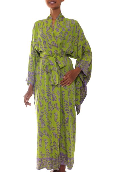 Balinese Green and Purple Fern Leaf Rayon Kimono Style Robe