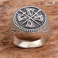 Men's sterling silver signet ring, 'Indra Sword' - Crossed Swords Sterling Silver Signet Ring for Men