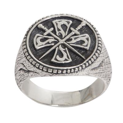 Men's sterling silver signet ring, 'Indra Sword' - Crossed Swords Sterling Silver Signet Ring for Men