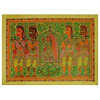 Madhubani painting, 'The Bride' - Madhubani Painting of Bridal Procession