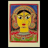Madhubani painting, 'Durga Ma' - Madhubani Painting of Mother Goddess Durga