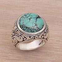 Men's sterling silver ring, 'Taru Tree'