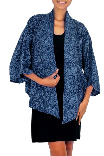 Blue Javanese Batik Rayon Jacket
