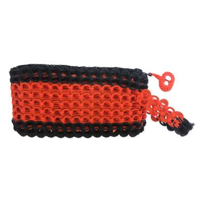 Orange and Black Soda Pop-Top Wristlet from Brazil