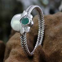 Emerald ring, 'May's Lily of the Valley' - Emerald and Sterling Silver Ring