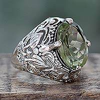 Prasiolite cocktail ring, 'Floral Greenery' - Handmade Prasiolite and Sterling Silver Cocktail Ring