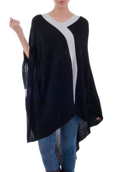 Black and Grey Peruvian Knit Bohemian Drape Poncho