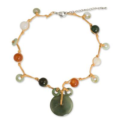 Beaded quartz and jade choker, 'Harmony' - Beaded Quartz and Jade Necklace