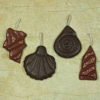 Wood ornaments, 'Sea Treasures' (set of 6)