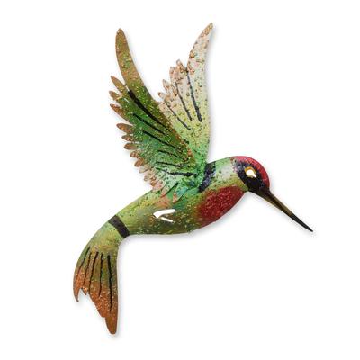 Iron wall sculpture, 'Little Emerald Hummingbird' - Bird Artisan Handcrafted Iron Wall Sculpture Mexico