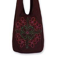 Cotton sling tote, 'Flower Fest' - Hand Crafted Floral Embroidered Shoulder Bag