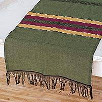 Cotton table runner, 'Trails of Totonicapan in Green' - Hand Woven Cotton Table Runner in Green and Black