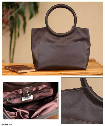 Leather handbag, 'Out on the Town' - Leather handbag