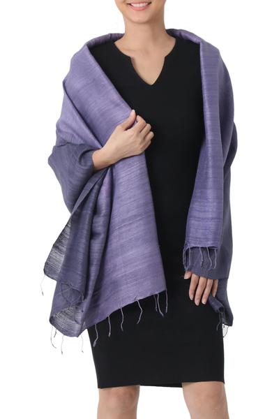 Silk shawl, 'Bold Lily' - Purple Hand Crafted Thai Raw Silk Shawl