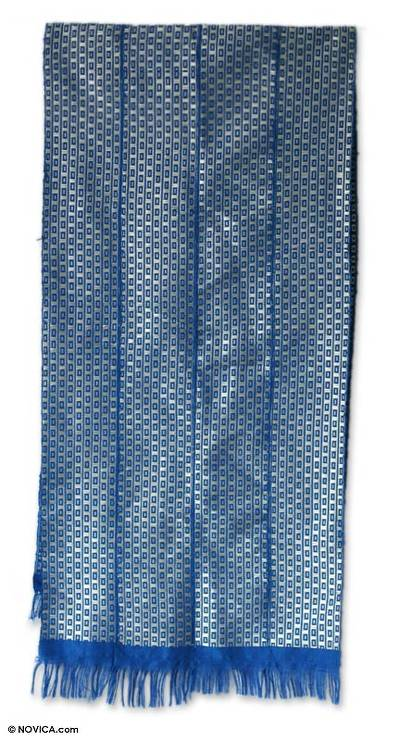 Cotton kente cloth scarf, 'God's Richness' - Cotton kente cloth scarf