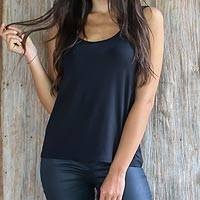 Modal top, 'Lotus Black' - Wrinkle Free Black Modal Tank Top for Women