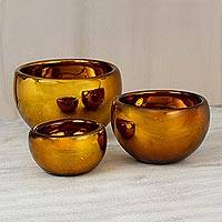 Blown glass bowls, 'Chrome Amber' (set of 3) - Set of 3 Modern Metallic Amber Hand Blown Glass Bowls