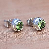 Peridot stud earrings, 'Green Simplicity'