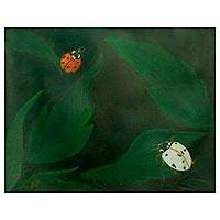 'Color of Nature' - Original Signed Ladybug on Leaf Painting