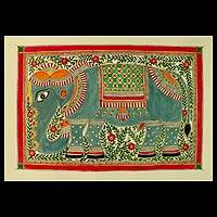 Madhubani painting, 'Mighty Elephant' - Indian Madhubani Folk Art Painting