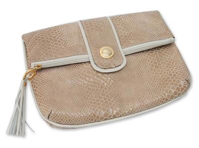 Snakeskin Textured Beige Leather Clutch Handbag