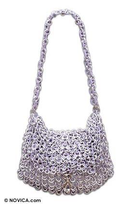 Soda pop-top handbag, 'Lilac Spark' - Soda pop-top handbag