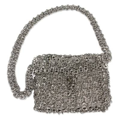 Soda pop-top shoulder bag, 'Long Shimmery Night' - Soda pop-top shoulder bag