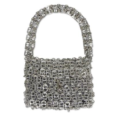 Soda pop-top bag, 'Mini-Shimmery Silver' - Unique Recycled Aluminum Soda Pop-Top Handbag