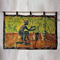 Batik wall hanging, 'Fufui Beih' - Batik wall hanging