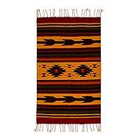 Zapotec wool rug, 'Burning Arrows' (2x3)