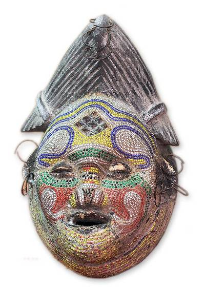 Congolese wood African mask, 'Kindly River Goddess' - Congo Zaire Wood Mask