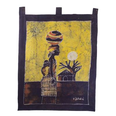Batik wall hanging, 'Woman from the Lakeside' - Handcrafted Batik Cotton Wall Hanging